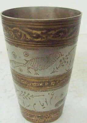 Old Brass Small Handcrafted Unique Engraved Lassi / Milk Glass B