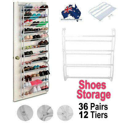 Over The Door Hanging Shoe Holder Organiser Shelf Rack Storage Hook 36 Pairs