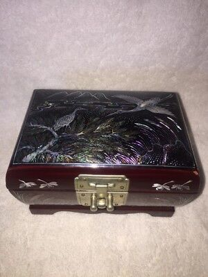 Vintage Oriental ASIAN JEWELRY BOX  BLACK LACQUER MOTHER-OF-PEARL INLAY
