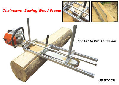 """Chainsaw Guide Bar Chain Saw Mill From 14"""" to 24"""" Log Planking Lumber Cutting US"""