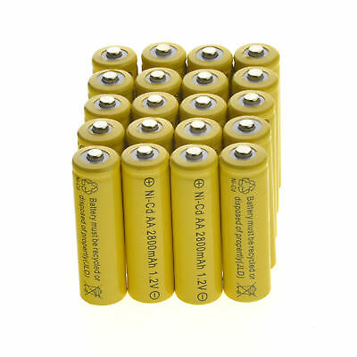20pc AA Rechargeable Batteries NiCd 600mAh 1.2v Garden Solar Ni-Cd Light LED CA
