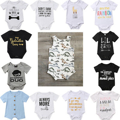 Newborn Infant Baby Boy Girl Romper Bodysuit Babygrows Clothes Sunsuit Outfits