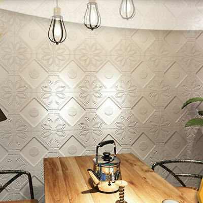3D Floral Wall Sticker Self-adhesive PE Foam Wallpaper Panels Livingroom Decal