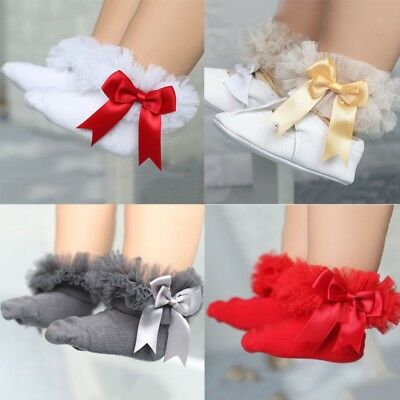 Newborn Baby Girls Lace Ruffle Tutu Socks Frilly Ankle Princess Anti Slip Socks