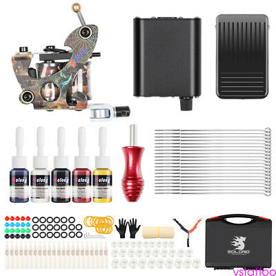 Complete Professional Beginner Tattoo Machine Kit Power Supply Foot Pedal Inks