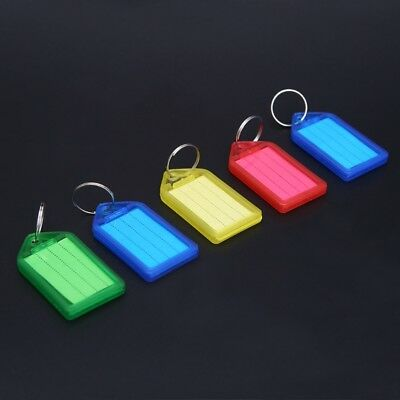 5X Plastic Multicolor Key Tag Assorted Key Rings ID Luggage Tags Name Card Label