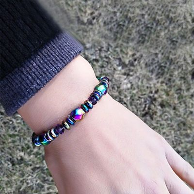 2X(Unisex Mode Multicolor Magnetic Bracelet Beads Hematite Stone for Thera W2D6)