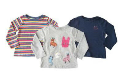 Ex Store Girls 3 Pack Llama Cat Animal Stripe Grey Navy Tops Age 2 3 4 5 Years