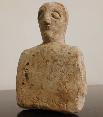 ANTHROPOMORPHIC FIGURINE WITH PALEO HEBREW SCRIPT. Iron Age II (1000-586 BC) Lim