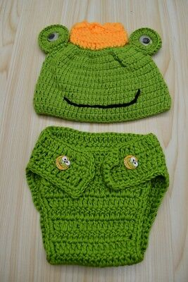 Frog Newborn Baby Boy 0-3M Knit Crochet Costume Photo Prop Outfits