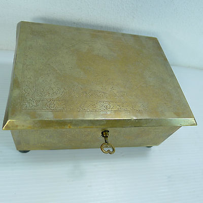 An Antique/vintage Lovely Brass Islamic ? Working Lock & Key Hinged Lidded Box
