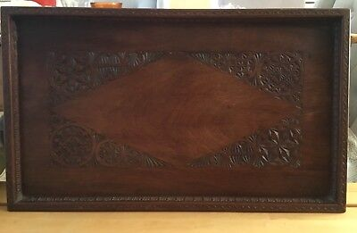 Antique hand carved wooden tray serving with beautiful detailing