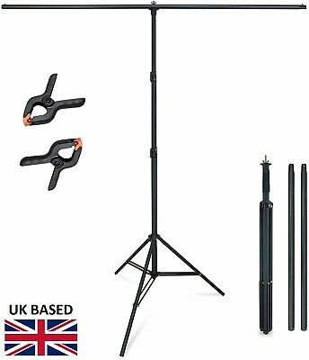 "T Stand Background Support Kit 2x2m 6.5x6.5"" with 2 Tiger Clamps by Hakutatz"