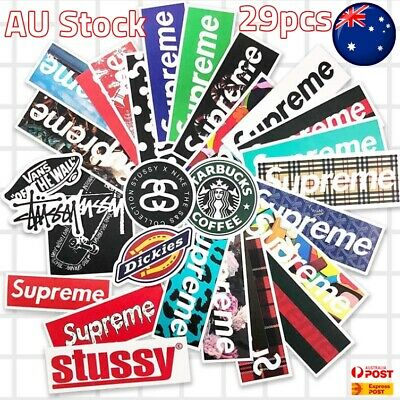 Vinyl Stickers Supreme Logo Snowboard Luggage Car Laptop Phone Fridge AU