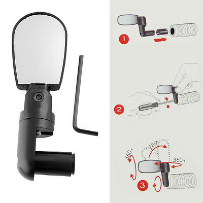 Black Bike Mirror Mountain Bicycle Rearview Handlebar End Rear Back View 1-5pcs