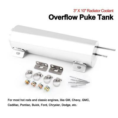 """3""""x10"""" Polished Stainless Steel 32 Oz Radiator Overflow Tank Bottle Catch Can"""