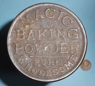 Vintage Antique Magic Baking Powder Pure Wholesome RARE Tin Canister