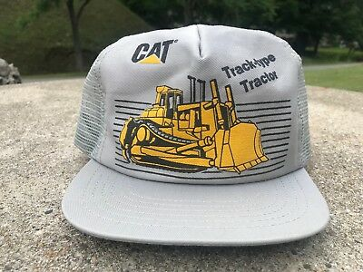 Vintage Cat Track Type Tractor Mesh Snapback Truckers Hat Cap w/ Dozer USA