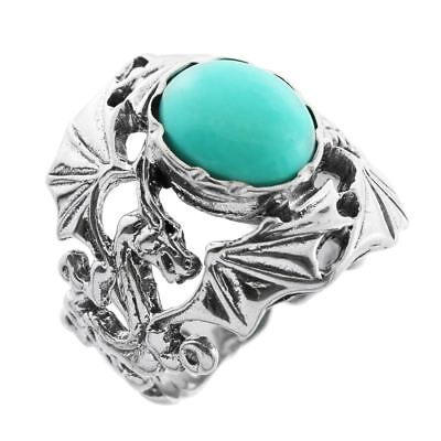 Little Treasures - Silver Dragon Ring with Turquoise Center Stone