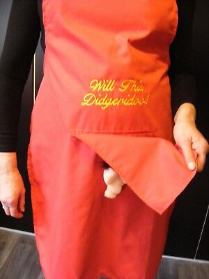 """NOVELTY SECRET WILLY APRON FUNNY MANS  /"""" PRICK with a FORK/"""" 6 colors"""