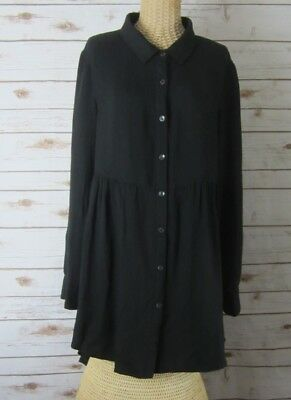 NEW SOLITAIRE Womens Large Black LS High Low Tunic Shirt Dress Rayon NWT L