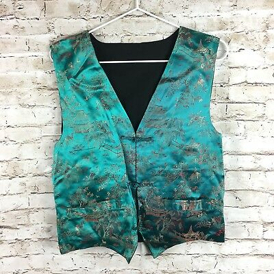 Chinese asian green vest OS frog closure