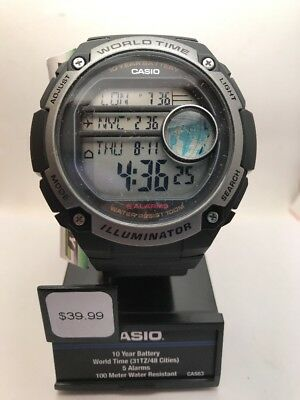 Casio Men's Illuminator Digital 100m 10-Yr Bat Black Resin Watch AE3000W-1A-HC