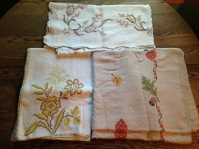 Lot of 3 Vintage Handmade Embroidered Tablecloths Floral & Leaves Use or Cutter