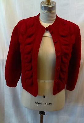 c1940 Women's burgundy long sleeve wool sweater
