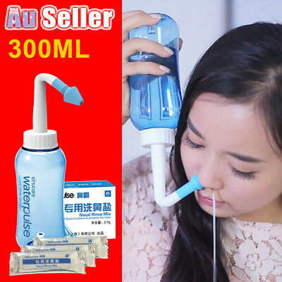 300ml Nose Sinus Allergy Relief Nasal Neti Pot Cleaner OR 30 Bags Washing Salt