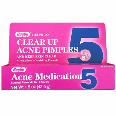 Rugby Acne Medication Benzoyl Peroxide Gel 5 % 42.5g (1.5 oz)