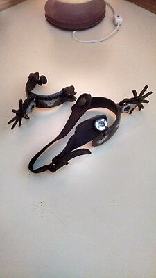 Vintage Cowboy Spurs With Silver Inlay