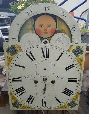 Antique Grandfather Clock Moon-Roller Longcase Movement & Painted Dial 8 day