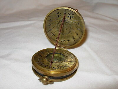 Vintage Nautical Maritime Brass Compass Ship Etching