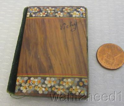 antique French Vichy souvenir WOOD NEEDLEBOOK handpainted flowers