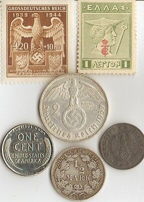"***Antique  WWI  - ""Mercury""   *greek  Stamp   + WWII  silver *german coin"