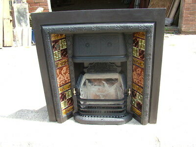 Antique cast iron tiled fire place original tiles with front bars & bottom cover