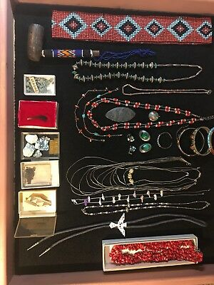 Native American Lot Jewelry Sterling Silver Old Beads Interesting Estate Find