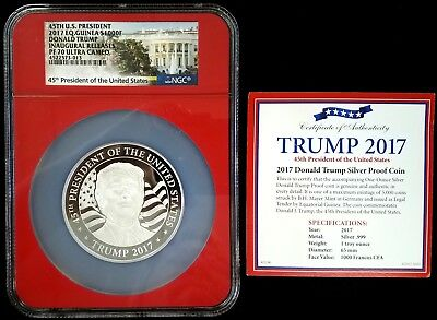 2017 Eq. Guinea 1000 F, 1 oz Silver, Donald Trump NGC graded PF 70 Ultra Cameo!