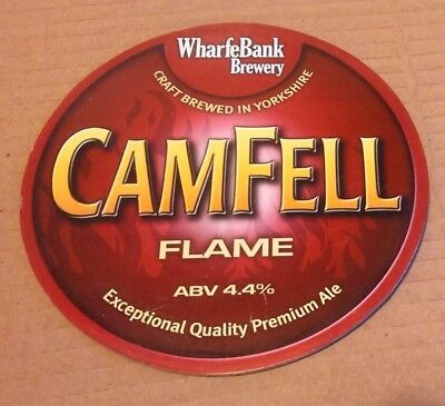 Beer pump badge clip WHARFEBANK brewery CAMFELL FLAME ale pumpclip front Yorks