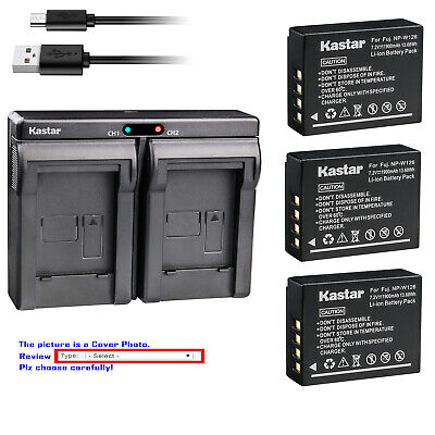 Kastar Battery Slim Dual Charger for Genuine Fuji NP-W126 NP-W126s OEM BC-W126