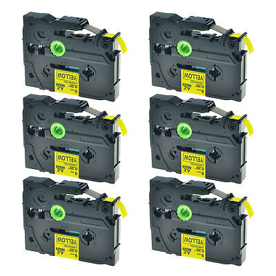 6PK TZ-621 Black on Yellow Tape Laminated 9mm TZe 621 For Brother P-Touch