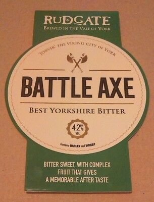 Beer pump badge clip RUDGATE brewery BATTLE AXE real ale pumpclip front Yorks