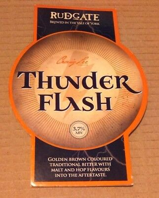 Beer pump badge clip RUDGATE brewery THUNDER FLASH cask ale pumpclip front York