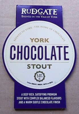 Beer pump clip badge front RUDGATE brewery YORK CHOCOLATE STOUT cask ale