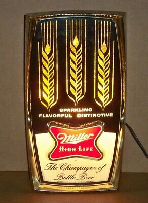 Working Vintage Miller Beer High Life Champagne Lighted Sign F-1037 Wheat Stalks