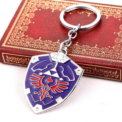 Legend of Zelda Link Blue Hylian Shield Metal Keychain Gaming Gift - US Seller