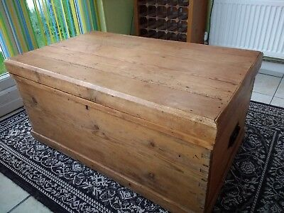 Antique pine blanket box with original candle drawer