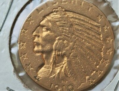 1910 $5 Gold Indian Past Cleaned Authenticated by Fivas