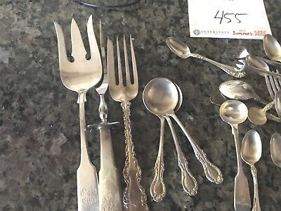 Sterling Lot Utensils 455 grams Use or Scrap Carving Set Tongs Child's Monograms